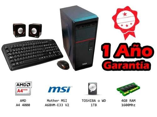 Pc Kit  Amd Hogareña Oficina Apu A4 1tb Hdd 4gb Ram Msi 500w
