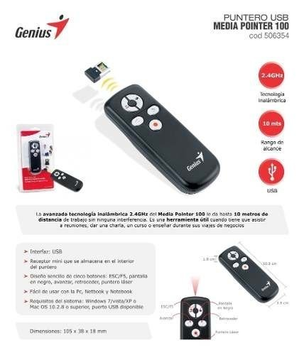 Puntero Presentador Laser Media Pointer 100 Genius Mini - comprar online