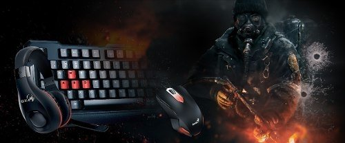 Kit Teclado Mouse Auricular Gamer Genius Kmh 200 Mouse Led - comprar online
