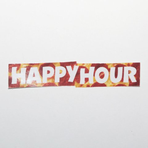 Happy Hour Sticker Bar Logo Pizza Mediano