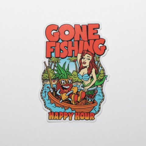 Happy Hour Sticker Gone Fishing Mediano