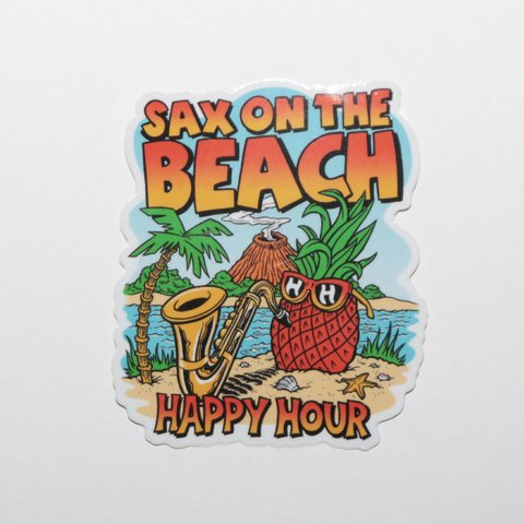Happy Hour Sticker Sax On The Beach Mediano