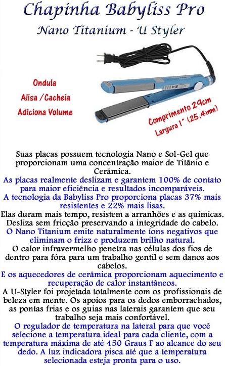 d0a1fbf39 Prancha Nano Titanium Babyliss Pro Fina 1
