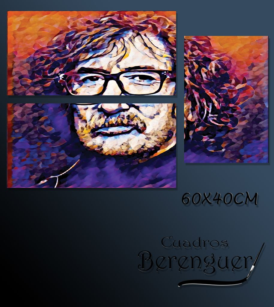 CUADRO TRIPTICO BASE CHARLY GARCIA COLOR 60X40CM