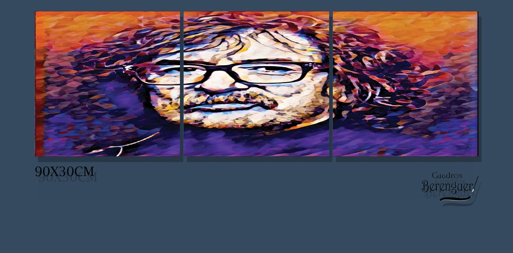 CUADRO TRIPTICO SMALL CHARLY GARCIA COLOR 90X30