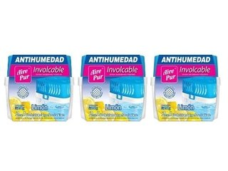 Aire Pur Antihumedad Combo X 3 Unidades Involcable Limon