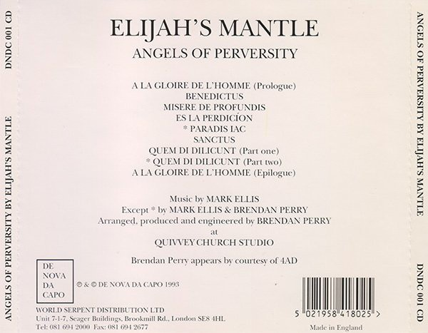 ELIJAH´S MANTLE - ANGELS OF PERVERSITY (CD) - comprar online