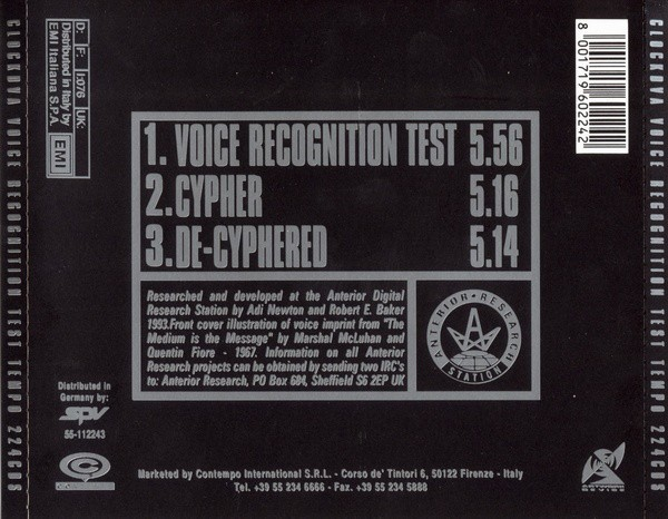 CLOCKDVA - VOICE RECOGNITION TEST (CD SINGLE) - comprar online