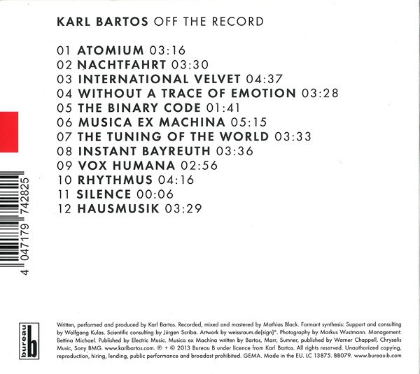 Karl Bartos (Kraftwerk) - Off The Record (CD) - comprar online