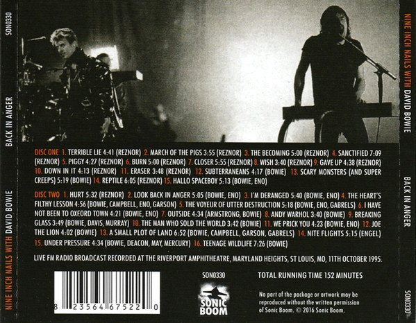 Nine Inch Nails with David Bowie - Back In Anger (CD DUPLO) - comprar online