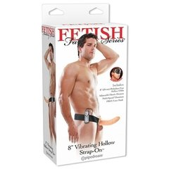 arnes para hombres FF 8 Vibrating Hollow Strap On Flesh