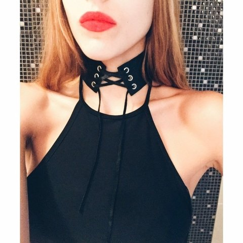 Leather Choker black - Polonia Cruz