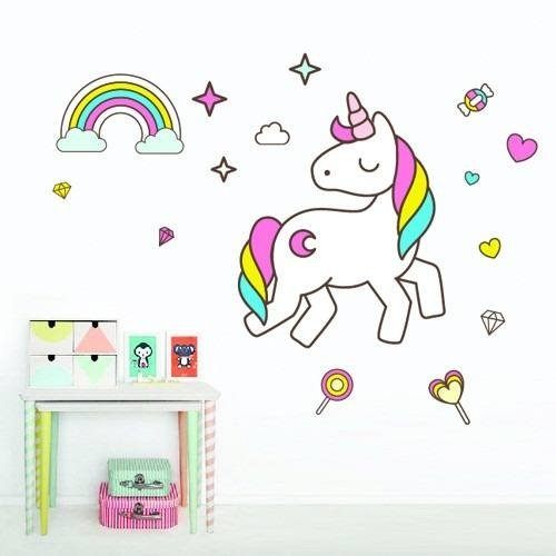Vinilos decorativos unicornio arcoiris cuarto ni a for Decoracion para pared unicornio