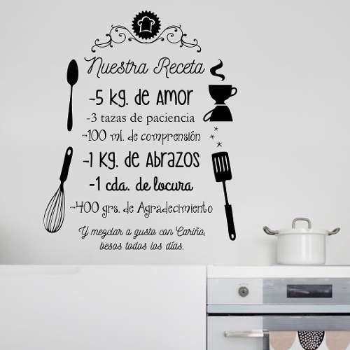 Vinilo Decorativo Frases Cocina Nuestra Receta Pared