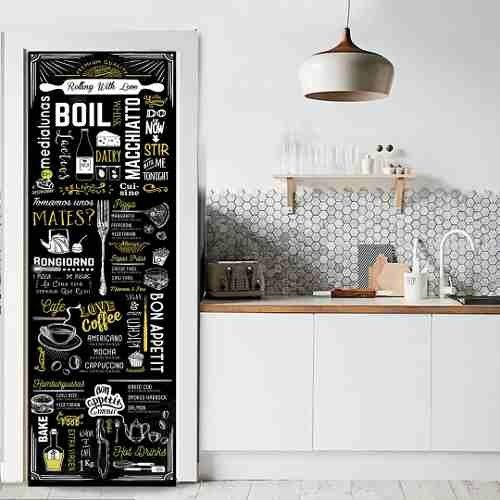 Vinilo decorativo puerta cocina heladera - Vinilo puerta cocina ...