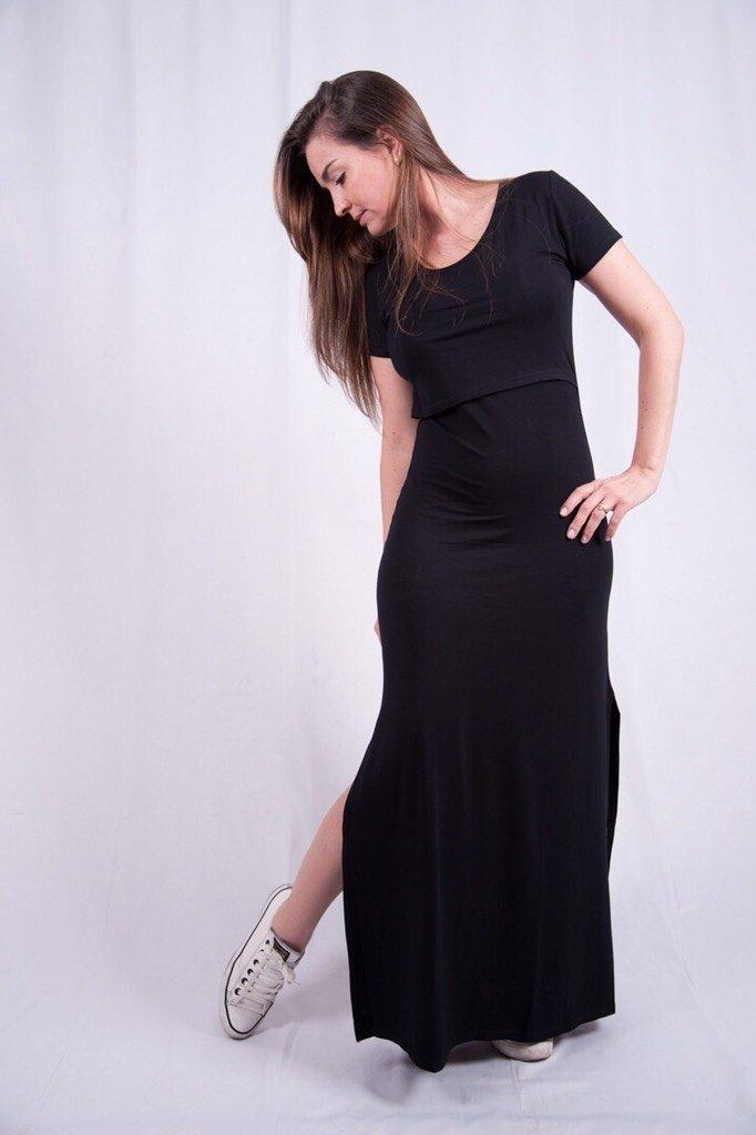 80c555839 vestido de amamentação liso com fenda lateral
