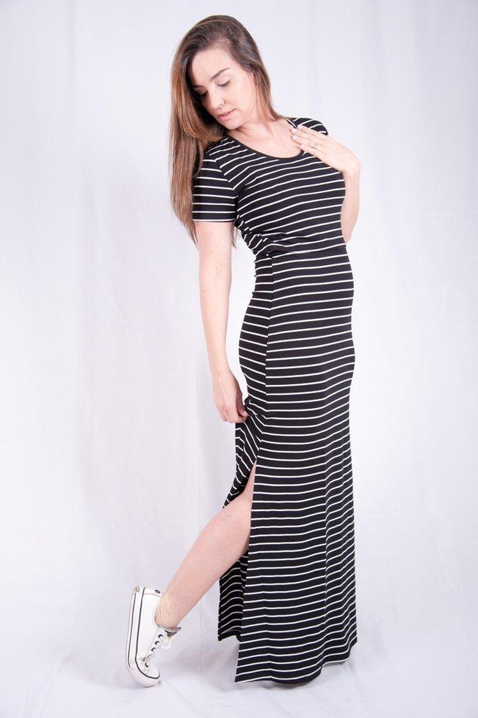 98871d51e vestido de amamentação longo listrado com fenda lateral