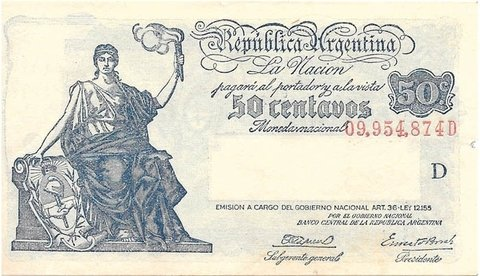 BILLETE DE 50 CENT. SERIE PROGRESO, AÑO 1944.