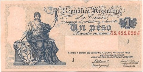 BILLETE DE 1 PESO SERIE PROGRESO, 1945