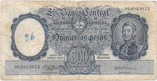BILLETE 500 PESOS MONEDA NACIONAL, AÑO 1956