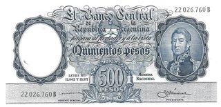 BILLETE 500 PESOS MONEDA NACIONAL, AÑO 1959