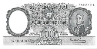 BILLETE 500 PESOS MONEDA NACIONAL, AÑO 1963