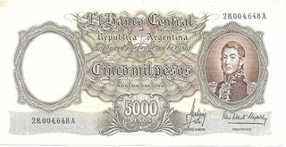 BILLETE 5000 PESOS MONEDA NACIONAL, AÑO 1965