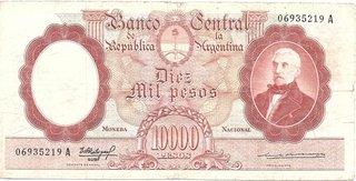 BILLETE 10.000 PESOS MONEDA NACIONAL, AÑO 1961