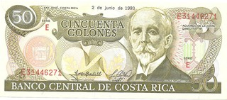 BILLETE DE COSTA RICA, 50 COLONES, AÑO 1993