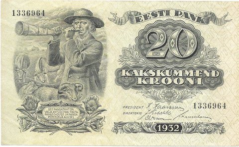 BILLETE DE ESTONIA , 20 KROONI , AÑO 1932