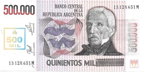 BILLETE DE 500.000 AUSTRALES TRANSITORIO, AÑO 1990