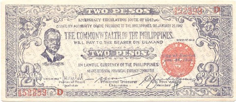 BILLETE DE FILIPINAS . 2 PESOS , AÑO 1942