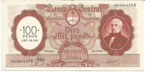 BILLETE DE 10.000 PESOS MONEDA NACIONAL