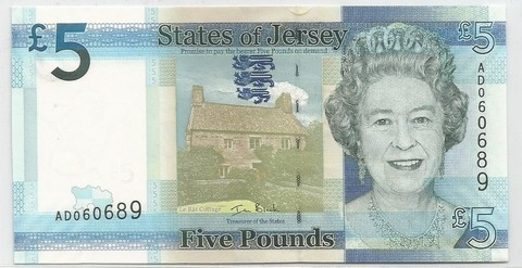 BILLETE DE IS. JERSEY, 5 POUNDS, AÑO 2010