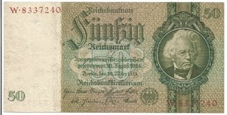 BILLETE DE ALEMANIA, 50 REICH MARK, AÑO 1929