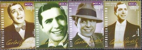 Correo Privado - OCA Simple - Carlos Gardel (4 valores) - $1.-