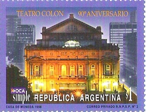Correo Privado - OCA Simple - 1998 - Teatro Colón - $1.-