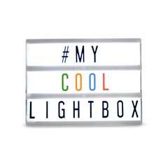 Lightbox con letras negras y de color