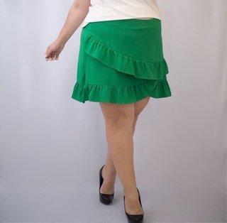 Saia Crepe com Babado Plus Size - cód. 3...