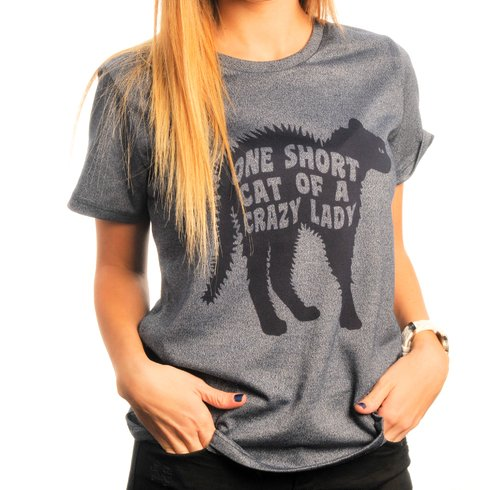 Remera One Short Cat Of A Crazy Lady