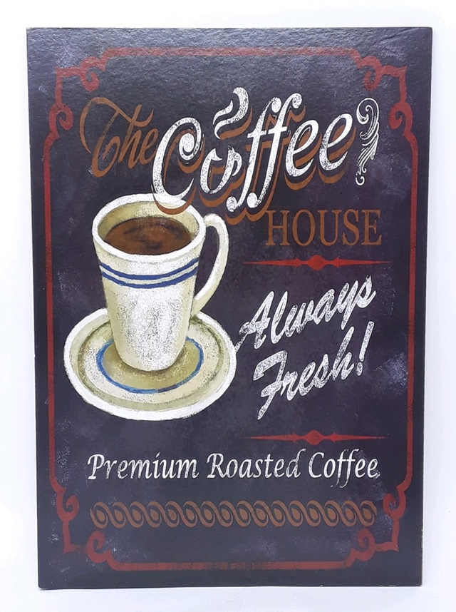 QUADRO PLACA DECORATIVO COFFEE HOUSE 36X37CM - 97021