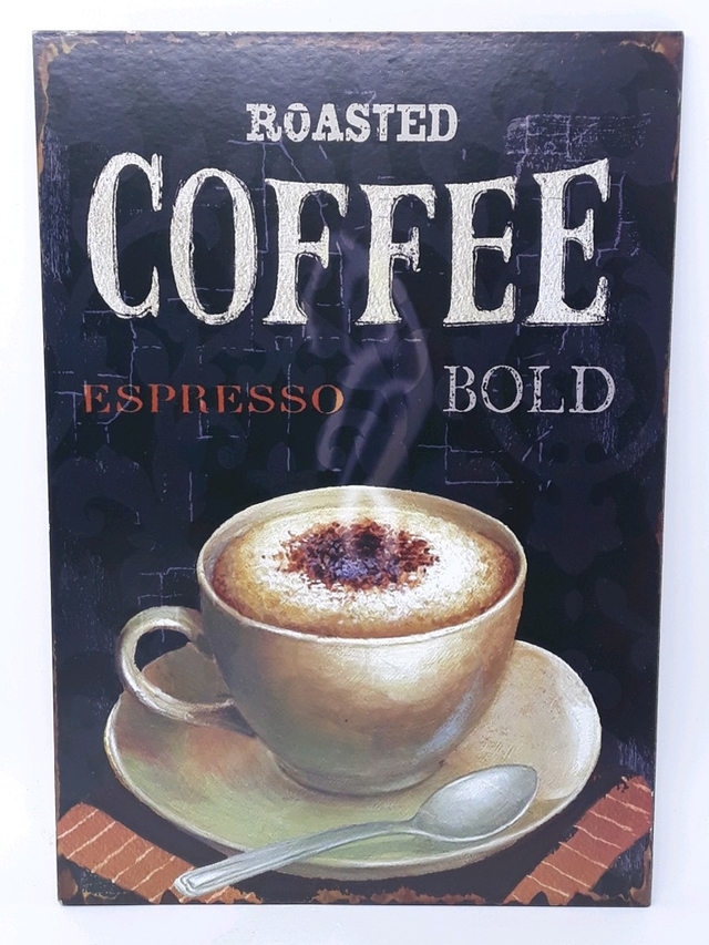 QUADRO PLACA COFFEE BOLD 26X37CM - 97021