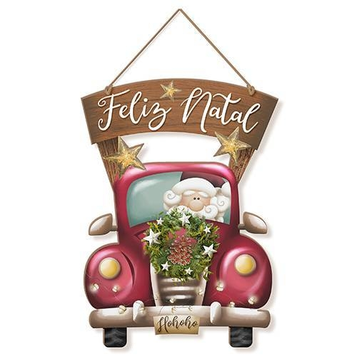 PLACA DECORATIVA PAPAI NOEL - FELIZ NATAL