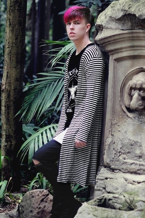 Online unisex Alternative witch clothing store: long sleeve stripe cardigan, gothic gender neutral brand tomboy clothes
