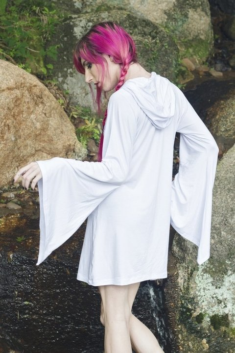 Alternative clothing brand: witch shop store gothic clothes white hood dress unisex