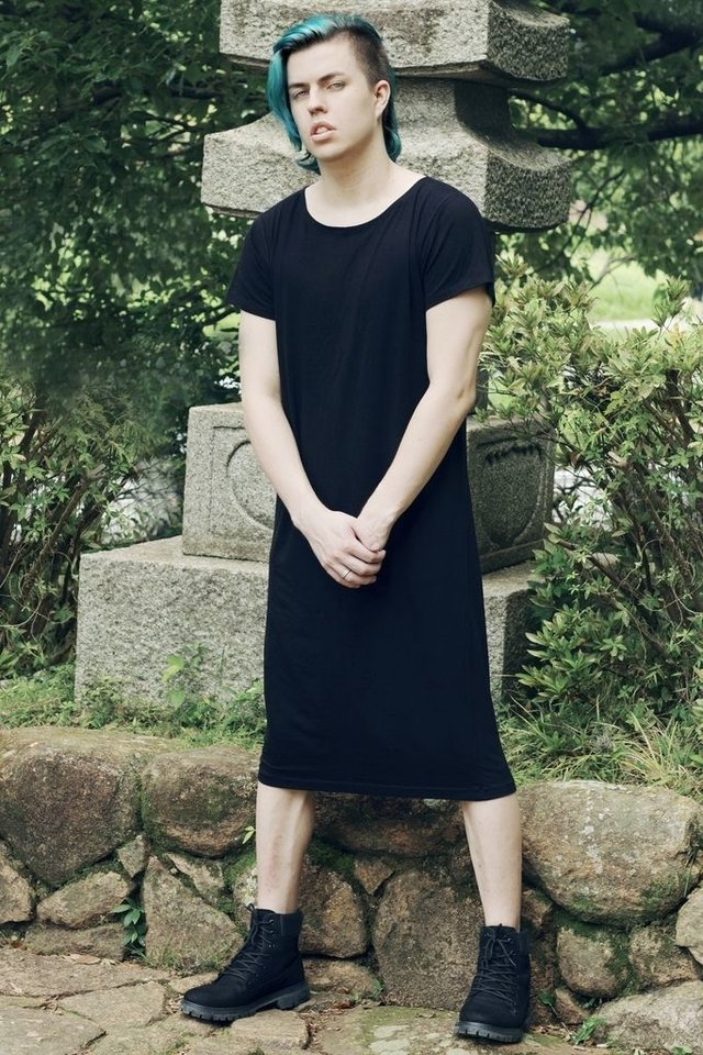 Unisex Alternative Clothing brand: Androgynous T-shirt Black Dress, gender neutral store