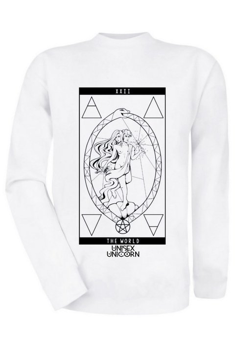 Alternative Unisex Clothing: Tarot Card The World White Sweatshirt, Witch clothes brand gothic shop gender neutral store