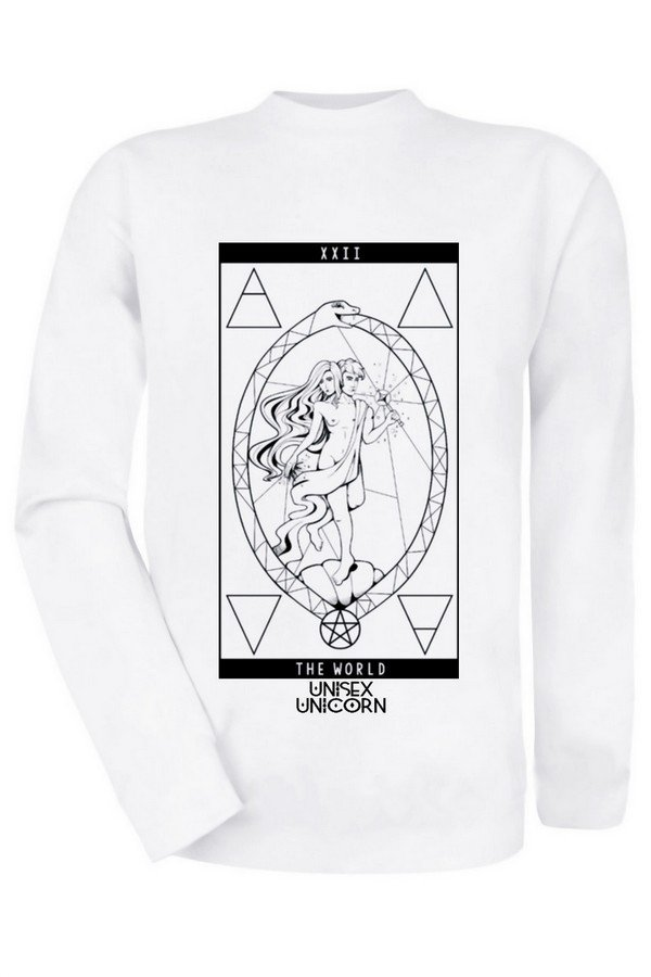 Loja de Roupas alternativas: Moletom Branco Carta Tarot The world Unissex Alternativo