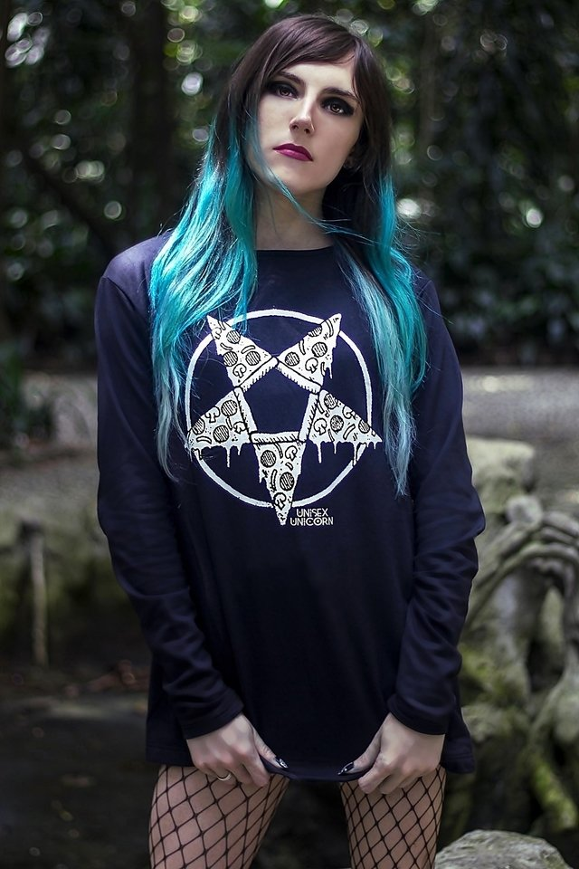 Online unisex Alternative witch clothing store: Pizzagram black sweatshirt Pizza Pentagram, gothic gender neutral brand