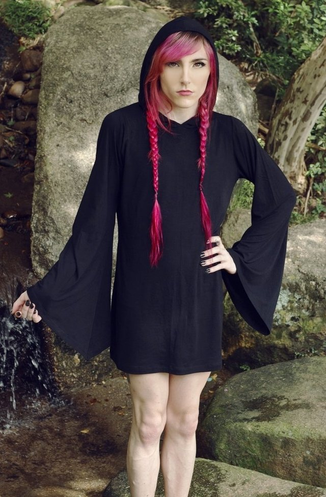 alternative clothing brand: witch shop store gothic clothes black hood dress unisex